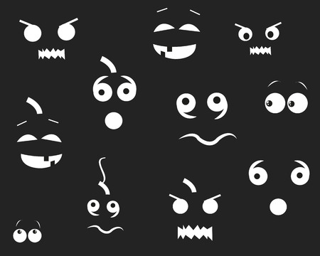 night vision: Happy Halloween funny pumpins eyes in the dark. Party background and greeting card vector illustration