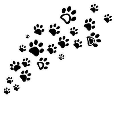 Black dog paw print background vector illustration