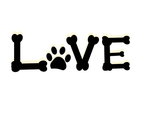 pete: Dog paw print with the word love. Pete room decor wall decor modern vector illustration