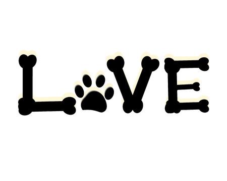 Pata de perro se imprime con la palabra amor. Pete pared decoración de la habitación decoración moderna ilustración vectorial Foto de archivo - 66080213