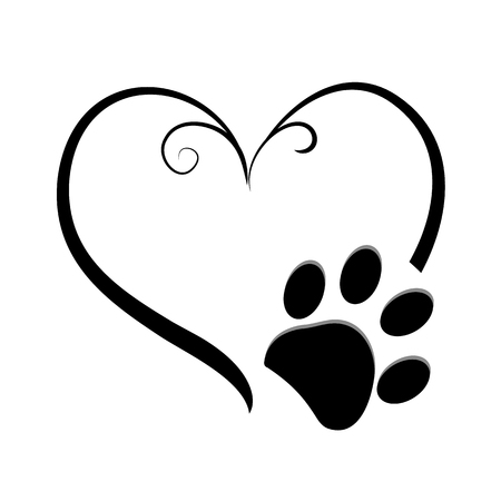 Dog paw prints with heart symbol. Tattoo design, vector illustration