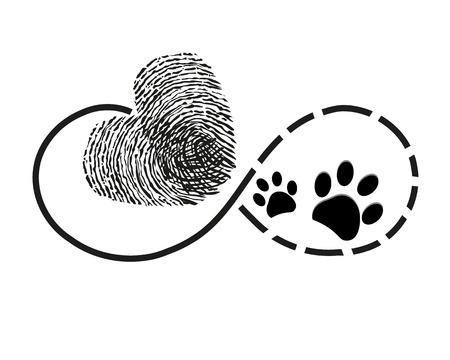 Eternity con impronte digitali e impronte di cane simbolo del cuore illustrazione tatuaggio Archivio Fotografico - 66080215