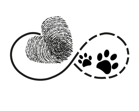 Eternity with finger print and dog paw prints heart symbol tattoo vector illustration