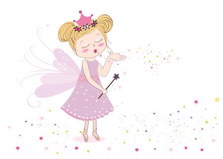 Cute sending fairy dust fairy tale vector illustration background