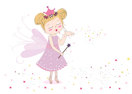Cute sending fairy dust fairy tale vector illustration background
