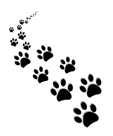 Black paw prints vector illustration background