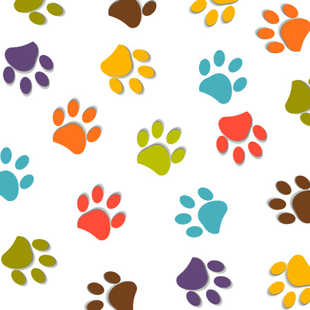 Dog paw print colorful pattern vector illustration
