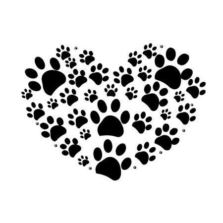 Dog paw print made of heart vector illustration background