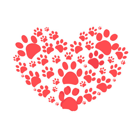 Dog paw print made of red heart vector illustration background Illustration