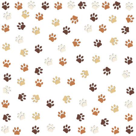 Dog paw print pattern vector illustration