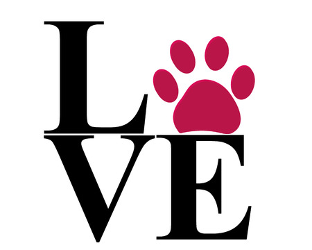 Love paw print vector with vector illustration background