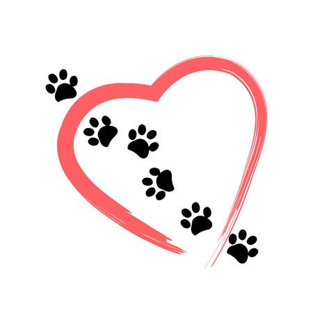 Gemaakt van rood hart met hond paw print achtergrond vector illustratie