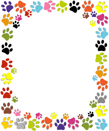 toes: Dog paw print made of red heart vector illustration background Illustration