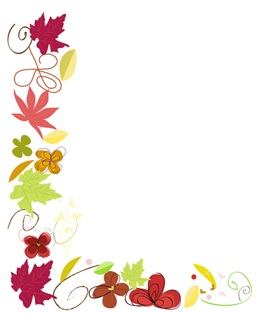 Autumn leaves border vector illustration Illustration