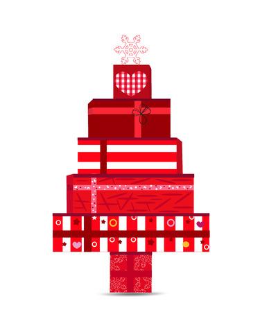 Vánoční strom z dárkových krabic vektorové ilustrace. Šťastný nový rok blahopřání