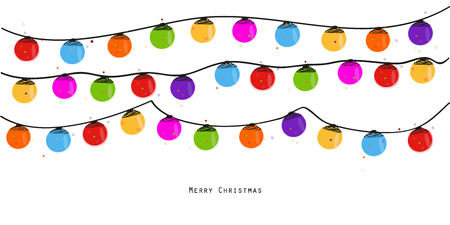 Colorful Christmas light bulb. New year greeting card vector