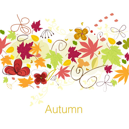 Decorative autumn leaves. Autumn background vector illustration greeting card