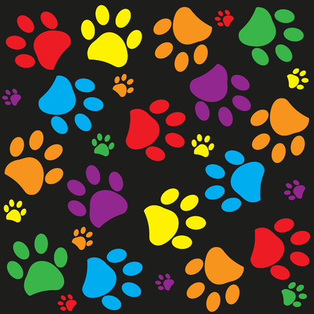Colorful Paw print pattern wallpaper background vector illustration 向量圖像