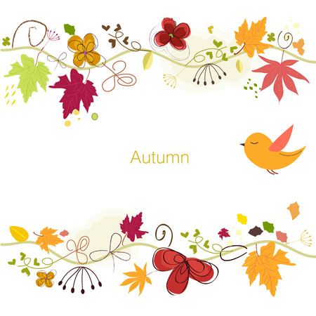 Autumn leaves. Autumn fall background vector illustration Illustration