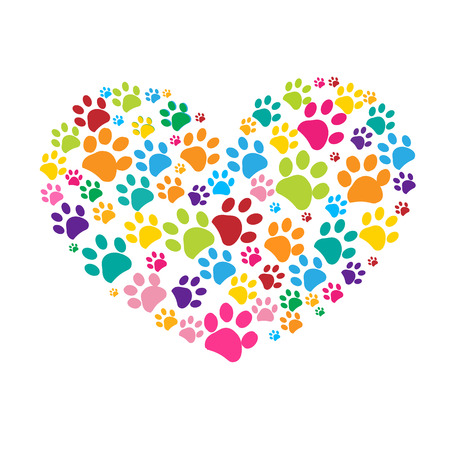 Dog paw print made of colorful heart vector illustration Stock Illustratie