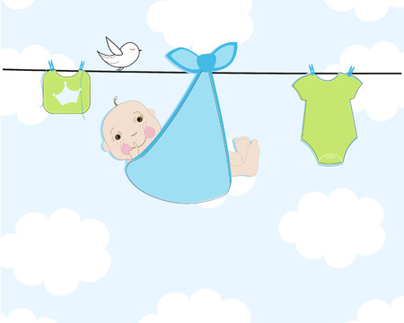 Baby arrival greeting card Illustration