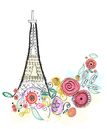 france painted: Eiffel tower and summer flowers vector illustration greeting card Illustration