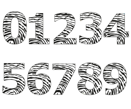 Black numbers with finger prints pattern vector illustration