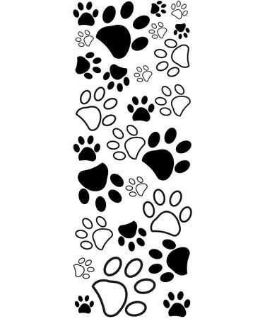 Black white paw prints border vector illustration Illustration