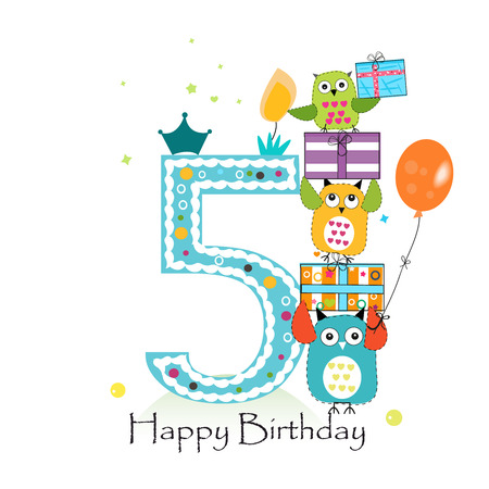 fifth: Happy fifth birthday with owls and gift box. Baby boy birthday greeting card vector illustration Illustration