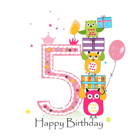 fifth: Happy fifth birthday with owls and gift box. Baby girl birthday greeting card vector illustration