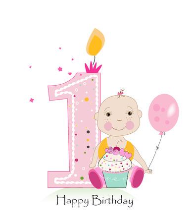 Baby erste Geburtstag Grußkarte mit Baby Mädchen Standard-Bild - 74031852