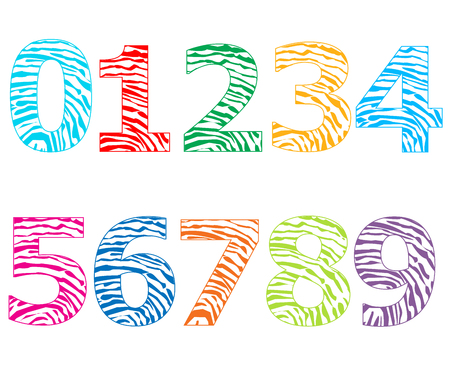 Colorful numbers with finger prints pattern vector illustration