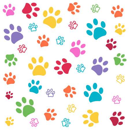 Colorful paw pattern vector illustration