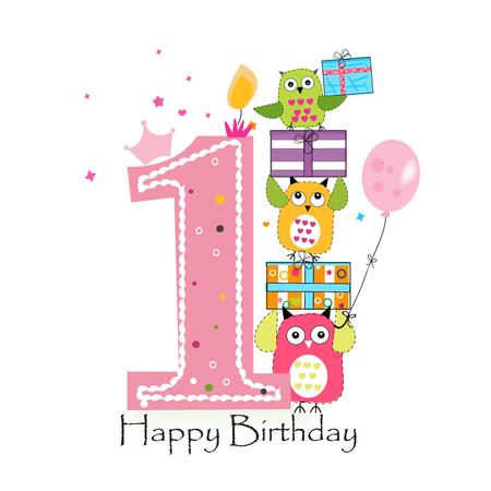 Primer cumpleaños feliz con los búhos y caja de regalo. Ejemplo de la tarjeta de felicitación del vector de cumpleaños de la niña Foto de archivo - 66080321