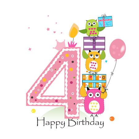 Cuarto aniversario con los búhos y caja de regalo. Ejemplo de la tarjeta de felicitación del vector de cumpleaños de la niña Foto de archivo - 66080326
