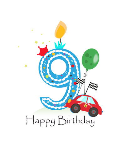 Nineth Happy birthday candle. Baby boy greeting card with race car vector illustration Illustration