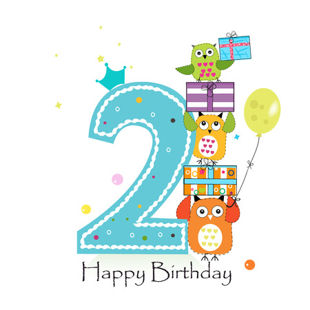 Happy second birthday with owls and gift box. Baby boy birthday greeting card vector illustration