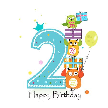 Joyeux deuxième anniversaire avec hiboux et boîte-cadeau. Illustration vectorielle de bébé garçon anniversaire carte de voeux