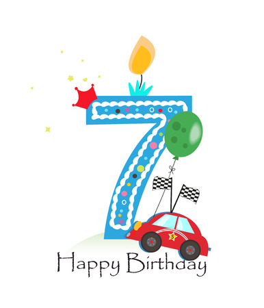 seventh: Happy seventh birthday candle. Baby boy greeting card with race car vector illustration
