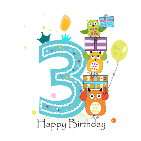 Happy third birthday with owls and gift box. Baby boy birthday greeting card vector illustration