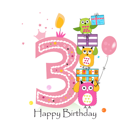 Happy third birthday with owls and gift box. Baby girl birthday greeting card vector illustration