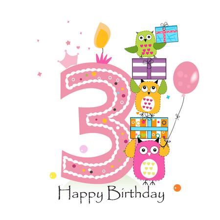 Tercer cumpleaños feliz con los búhos y caja de regalo. Ejemplo de la tarjeta de felicitación del vector de cumpleaños de la niña Foto de archivo - 66080355