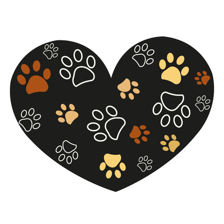 Paw print made of heart. Vector illustration background