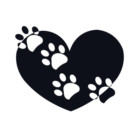 Paw print black with white heart shape vector illustration design