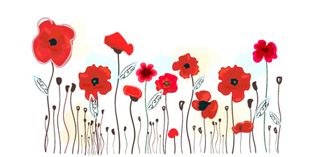 Watercolor red poppies design. Poppy red flowers vector illustration background Ilustração