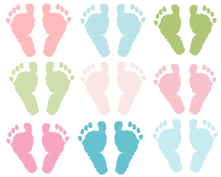 Baby foot print pastel colored vector illustration background