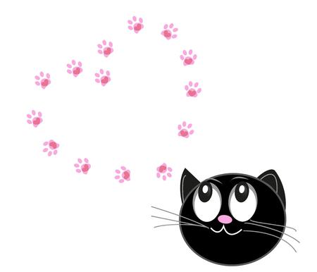 Leuke katten met harten en poot afdrukken vector illustratie achtergrond