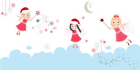 Cute Christmas angels. Merry christmas greeting card