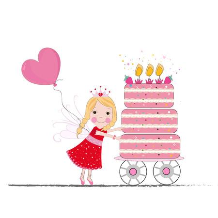 Cute fairy tale with birthday cake