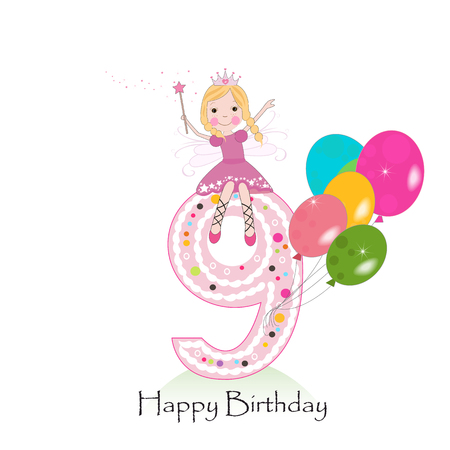 Happy ninth birthday greeting card with fairy tale
